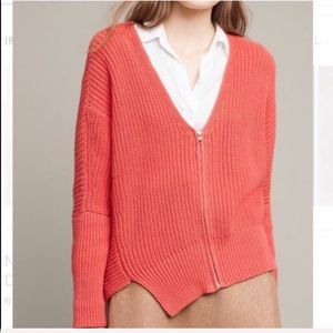 Anthropologie Sweaters - Anthro. Moth | Knitted Coral Zip-Up Sweater